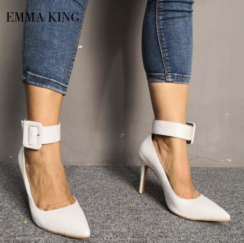 New Women Pointy Closed Toe Wide Buckle Ankle Strap Pump Shoe Stiletto High Heel