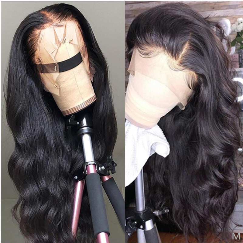 13x6 Pre Plucked  Lace Front Human Hair Wig 150% Density 26 Inch Natural Black Peruvian Remy Body Wave Wig For Black Women