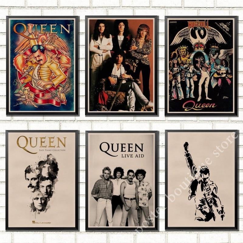 С группой Queen музыкальный крафт-бумага плакат Меркьюри, Брайан Мэй в винтажном стиле высокого качества рисунок основной декоративная роспи...