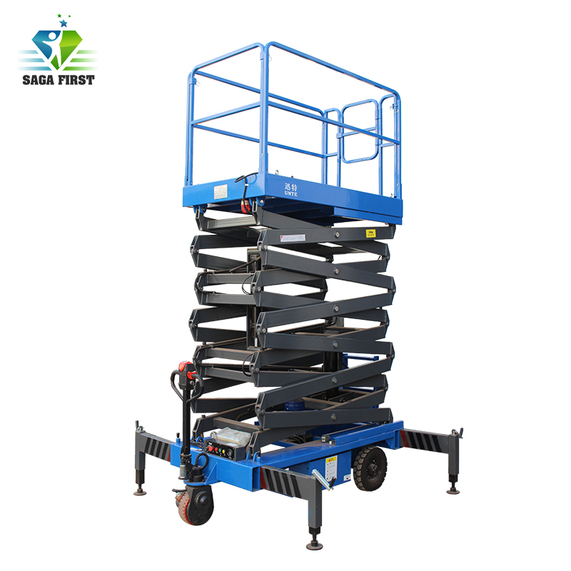 Manually Moving Hydraulic Electric Scissor Lift With 12m 14m 18m Height 1000kg Capacity
