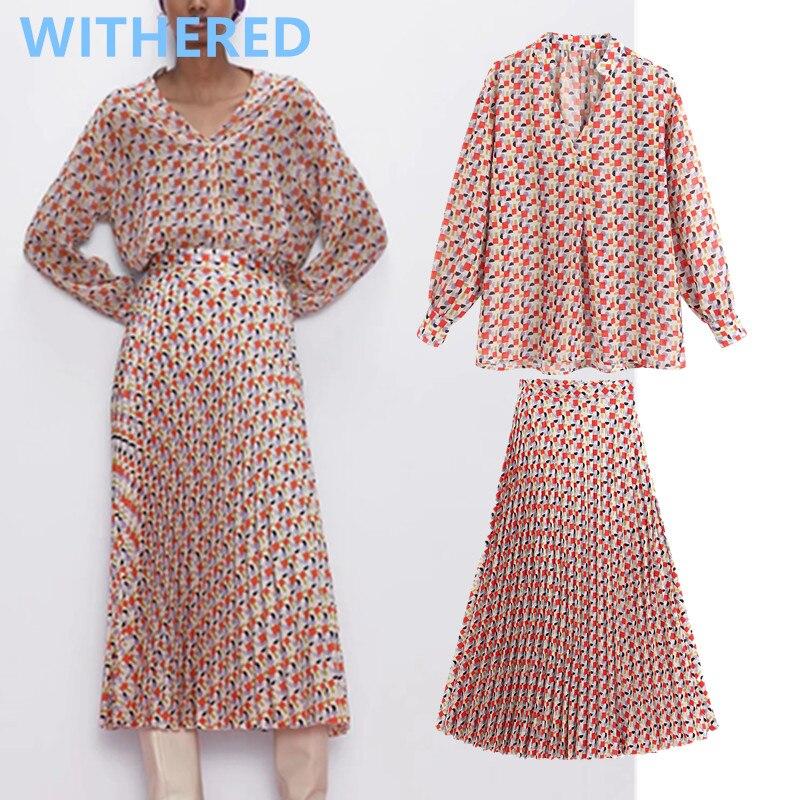 Withered England Vintage Geometric Print Blusas Mujer De Moda 2020pleated Midi Skirt Women Faldas Long Skirts Womens 2 Piece Set