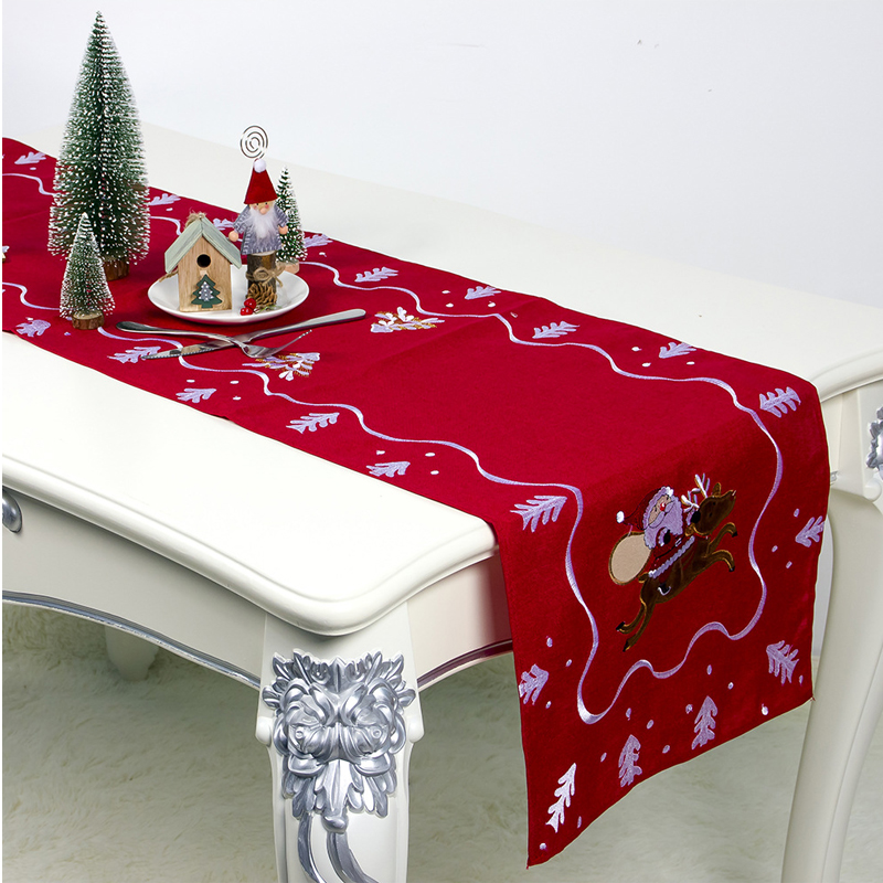 Faroot Christmas Santa Claus Pattern Embroidery Table Runner Xmas Party Dining Room Restaurant Table Gadget Decor Ornament
