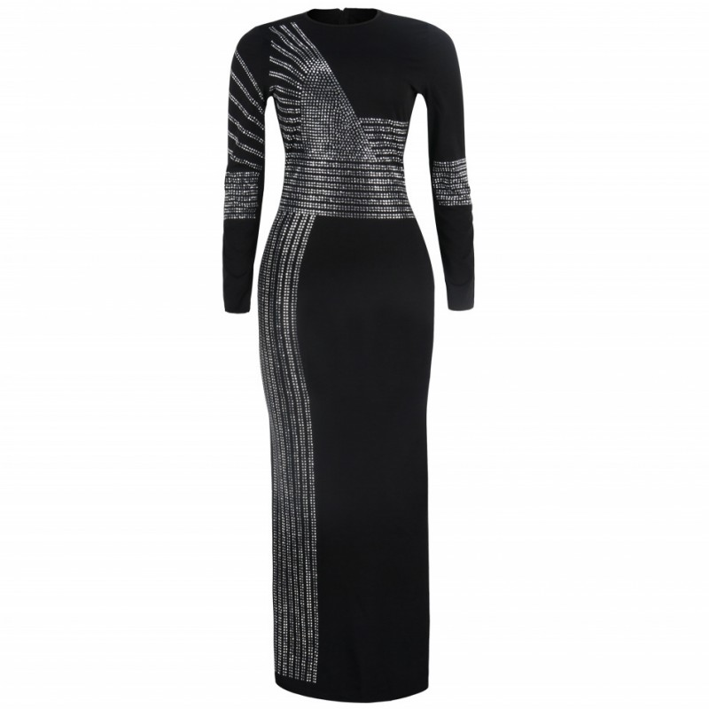 3XL Black African Dresses For Women 2020 African Long Dress Sequins O-Neck Long Sleeves Daily Dress Evening Party Maxi Dress
