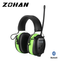 ZOHAN Lithium Battery Bluetooth & Radio AM/FM Safety Electronic Shooting Ear Muffs NRR 25dB Hearing Protection Ear Defenders Ta