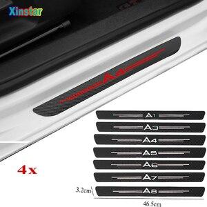 4PCS Car Protector Door Sill Stickers For audi SLINE A1 8X A3 A4 B5 B6 B7 B8 B9 A5 A6 A7 C7 C6 C5 4F A8 D3 D4 8R q3 q5 tt