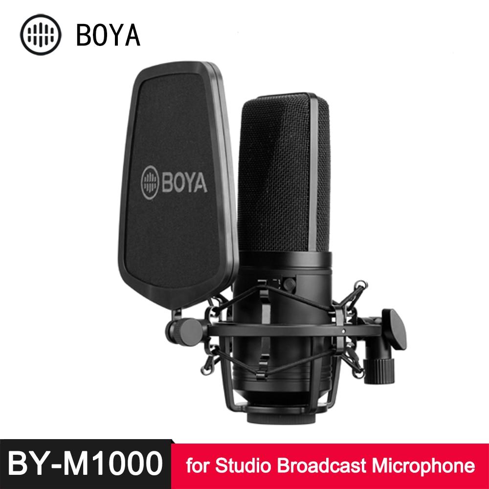 Конденсаторный кардиоидный микрофон BOYA BY M800 M1000, большой диафрагменный микрофон с глубоким фильтром для студийной трансляции, прямой транс...