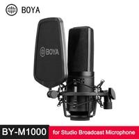 BOYA DURCH M800 M1000 Große Membran Mikrofon Low-cut Filter Nieren Kondensator Mic für Studio Broadcast Live Vlog Video mic