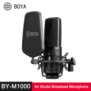 BOYA BY M800 M1000 Large Diaphragm Microphone Low-cut Filter Cardioid Condenser Mic for Studio Broadcast Live Vlog Video Mic