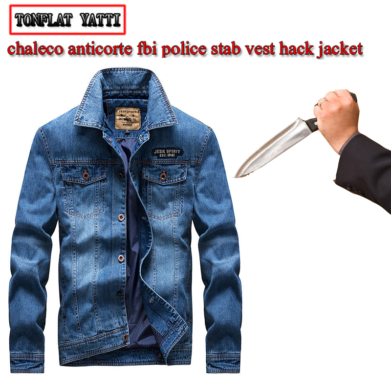 Men Fashion Denim Jacket Police Safety Protection Chaleco Anticorte Anti-cutting And Stab-resistant Flexible Chain Mail Clothing