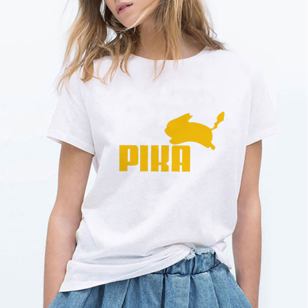 New Fashion Women T Shirts Pokemon Kawaii T Shirt Anime Pika Women T-shirt Pikachu T Shirt Cotton Short Sleeve Girl Tees Tops