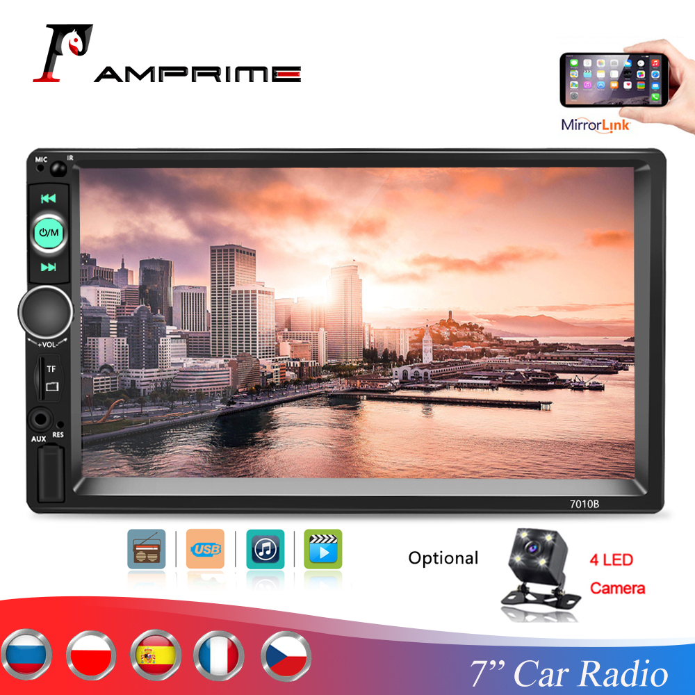 AMPrime Autoradio 2din car Multimedia player 7 Touch Bluetooth Car radio MP5 Player MirrorLink Stereo FM/USB/TF/AUX With Frame image