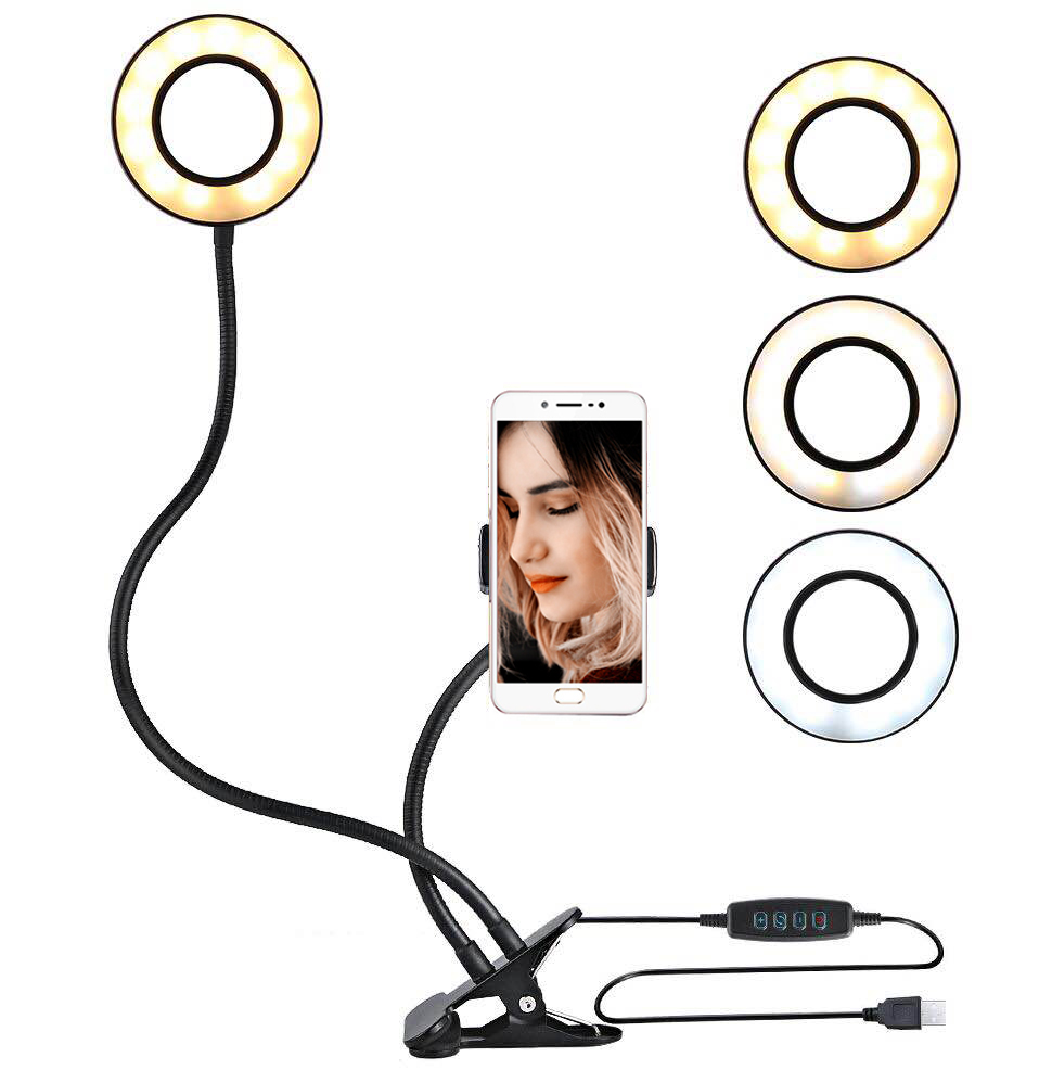 Selfie Flash Ring Light + Mobile Phone Holder 24 LED Camera 2 In 1 360 Degree Long Arm USB Clip On For Live Stream