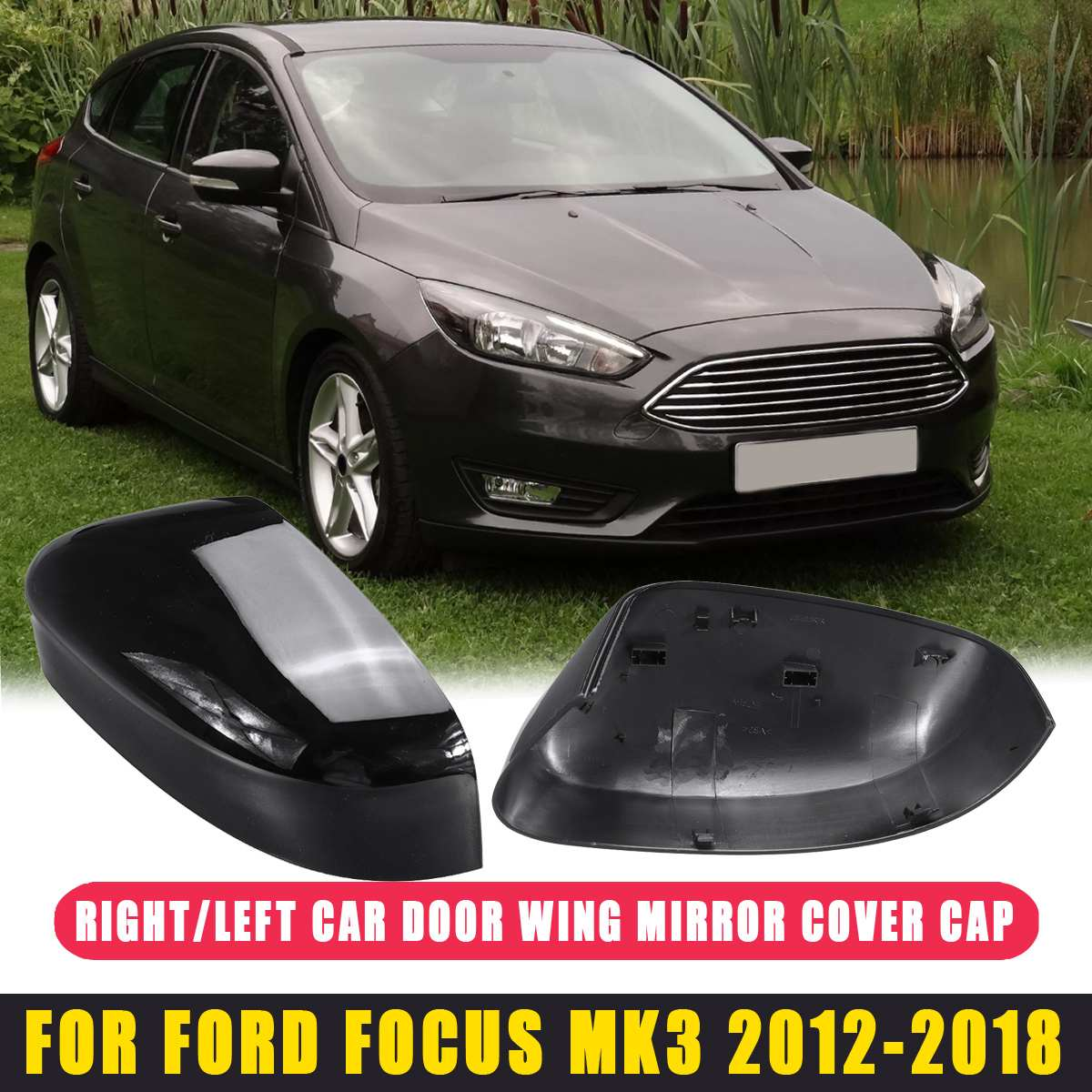 1pcs/2pcs Gloss Black color ABS Rearview <font><b>Mirrors</b></font> Cover Cup trim Fit for <font><b>ford</b></font> <font><b>Focus</b></font> <font><b>MK3</b></font> 2012 2013 2014 2015 2016 2017 2018 NEW image