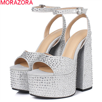 MORAZORA 2020 New Brand summer party wedding shoes sexy extreme high heels platform women sandals elegant ladies shoes