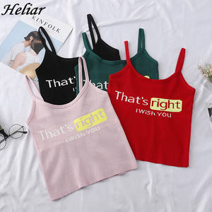 HELIAR 2019 Girlish Tops Female Crop Tops Ladies Knitted Tank Tops Casual Woman Sexy Clothes Spaghetti Letter Print Camisoul