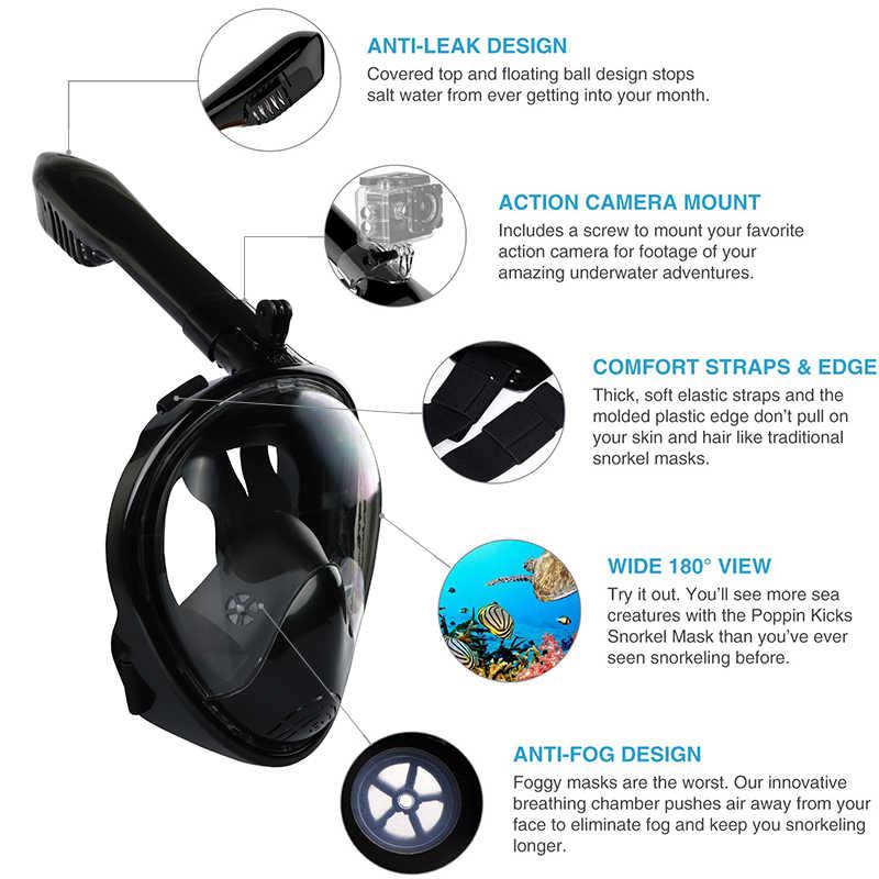 Elikliv Black Underwater Scuba Mask Respiratory Safe and waterproof Swimming Snorkel Equipment Anti Fog Full Face Diving Snorkeling Mask Set