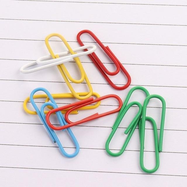 Фото 100 шт зажимы для бумаги с пластиковым покрытием цветные бумажные