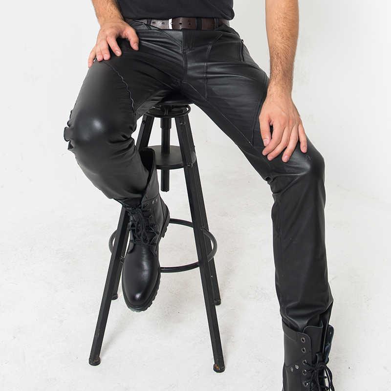 Real Leather Volledige Lengte Broek Mannen Streetwear High Street Casual Motor Slim Skinny Broek Klassieke Punk Stijl Mode Calca Man