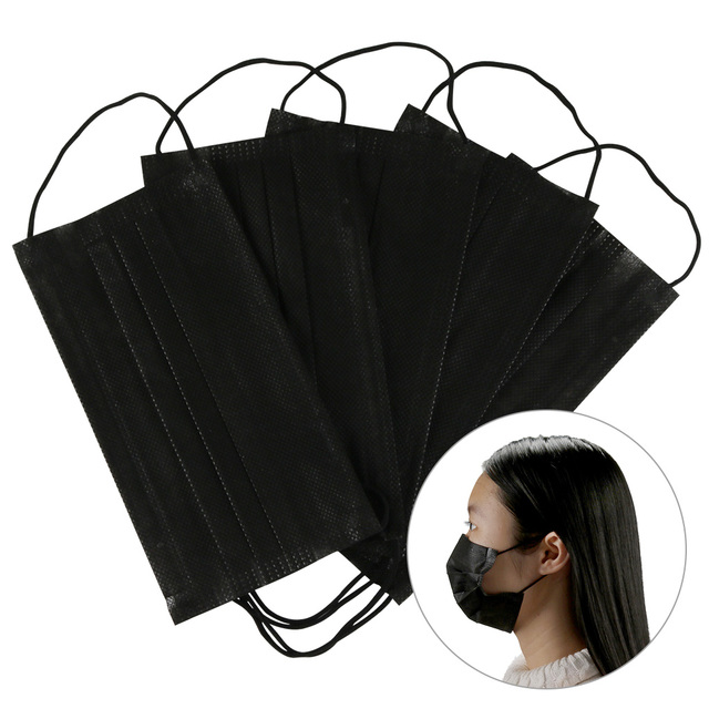 10/20/50/100Pcs Mouth Mask Disposable Black Cotton Mouth Face Mask Mask Non-woven Mask Earloop Activated