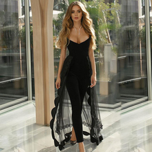ADYCE Bandage Jumpsuits For Women 2021 Black Bodycon Bandage Jumpsuits Club Sexy Stapless Lace Bodysuit Romper Long Pants