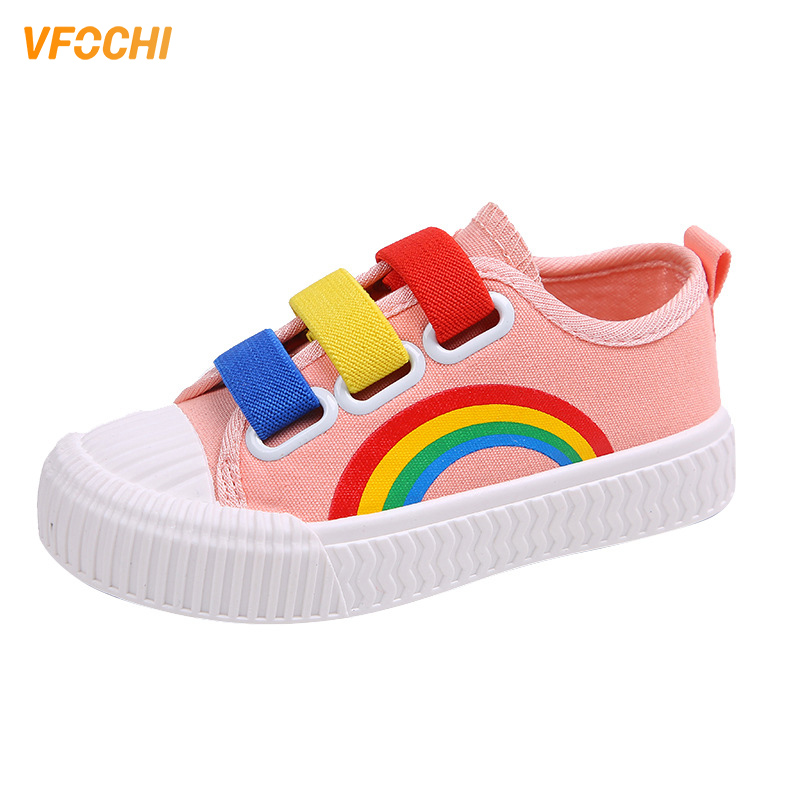 VFOCHI New Gir Canvas Shoes for Kids Fashion Rainbow Print Soft Boy Casual Children Unisex Boys Girls