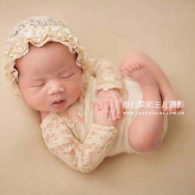 0-3Months Baby Photo Costume Infant Princess lace cap jumpsuit Newborn Baby Photography Props Girl Theme Studio Accessories 1