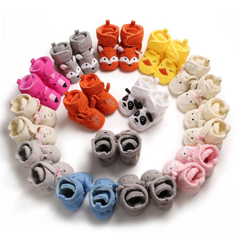 New Baby Boots Velvet Toddler Winter Shoes Cartoon Newborn Infant Snow Footware Botas Girls Boys First Walkers Soft Warm Botas