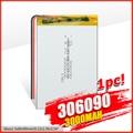 Литиевая батарея 306090 3000 мАч 3,7 В, литиевая полимерная аккумуляторная батарея для Bluetooth гарнитуры MP3 MP4 MP5 GPS PSP MID