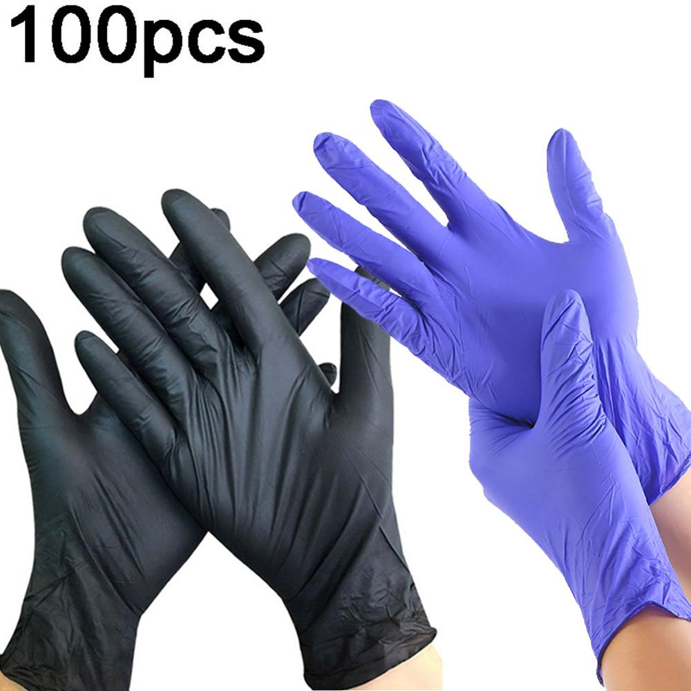 100Pcs Black Disposable Gloves Universal Latex Gloves For Dishwashing/Kitchen/Medical /Work/Rubber/Garden Home Cleaning