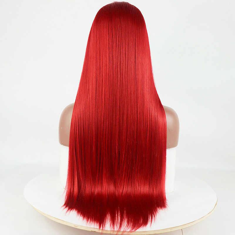 Peluca con malla frontal de 24 pulgadas, pelo sintético liso y sedoso rojo cobrizo, pelucas de pelo de alta temperatura a la moda para mujer, parte media
