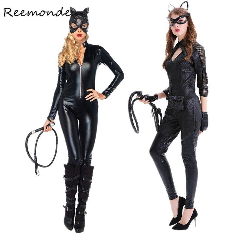 Erwachsene Frauen Katze Frauen Cosplay Kostüme Sexy Schwarz Kunstleder Catsuit Overall Mit Peitsche Cosplay Halloween Fancy Kleid