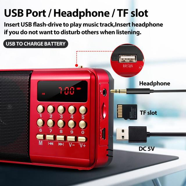 Mini Portable Radio Handheld Rechargeable Digital FM USB TF MP3 Player Speaker Devices Supplies 2