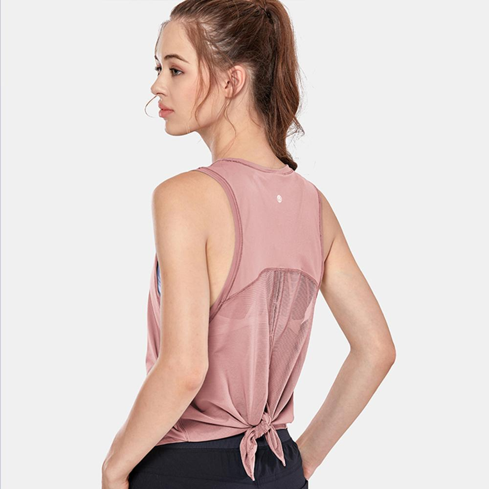 Camisa sem Mangas de Secagem Rápida para Mulheres Malha Running Back Workout Tank Top Tie