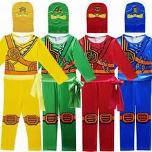 Ninjago Party Cosplay kostiumy LEGO chłopcy kombinezony zestawy dla dzieci Halloween ubrania świąteczne Ninja Superhero Streetwear garnitury