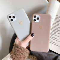 Funda de silicona blanda para teléfono móvil iphone, carcasa con diseño de corazón de amor dorado a la moda para iphone 12 Mini 11 Pro Max X XR XS Max SE 2020 6 6S 7 8 Plus