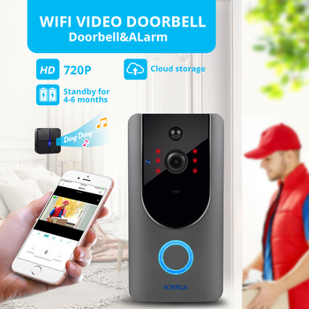 KERUI 720P Video Doorbell Camera Intercom Battery-Powered Doorbell Wireless Chime IP Wifi Home Security Camera Phone Sensor