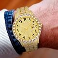 MISSFOX арабские цифры часы с большим бриллиантом рамка Полная асфальтированная Ролекс, часы класса люкс со льдом часы кварцевые Для мужчин 18K ...