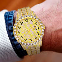 MISSFOX Arabic Number Watch Big Diamond Bezel Full Paved Rolexable Watch Luxury Iced Out Watch Quartz Men's 18K Gold Wrist Watch