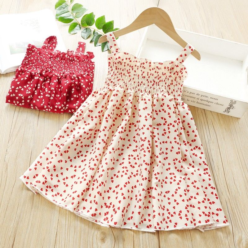 VIDMID Summer New party style clothes Girls Sexy Dress Red floral Plaid children kids Sleeveless cotton Short Dresses P510 3