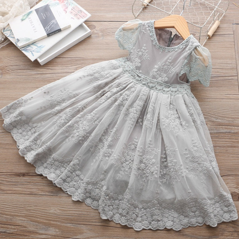 Flower     Girl     Dress   Lace Embroidery Ball Gown   Dresses   For   Girls   Formal Party Solid   Dress   Princess Wedding Clothing Graduation Gown