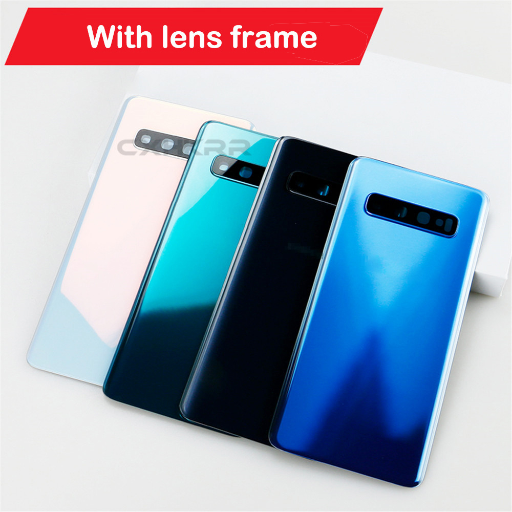 CXHKRR For Samsung Galaxy S10 S10Plus S10+With lens frame Back Case Battery Cover Glass Housing Cover Rear Cover