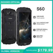 Real IP68 DOOGEE S60 12V2A Carga Rápida de Carga Sem Fio 5580mAh 5.2 ''FHD Helio P25 Octa Núcleo 6GB 64GB Smartphones Câmera 21.0MP