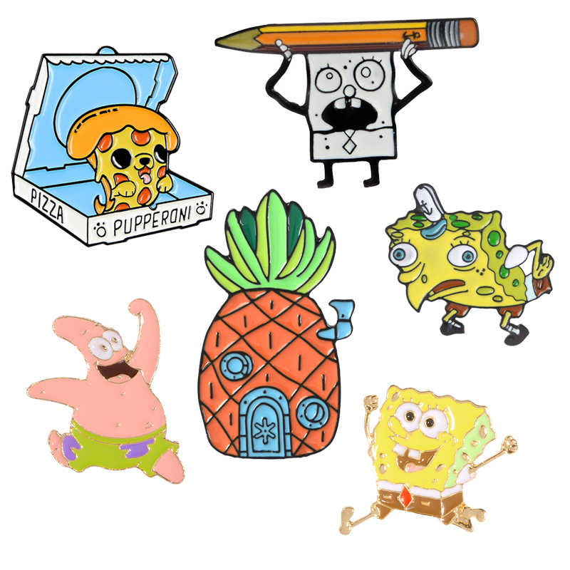Cartoon Karakter Mocking Spons Ananas Houacartoon Char Lederen Jeckets Accessoires Cartoon Pins En Broches Cadeaus Voor Kinderen