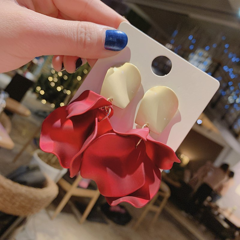 Red Flower Petal Earrings For Women 2019 New Sexy Statement Earrings Hot Fashion Jewelry Pendientes(China)