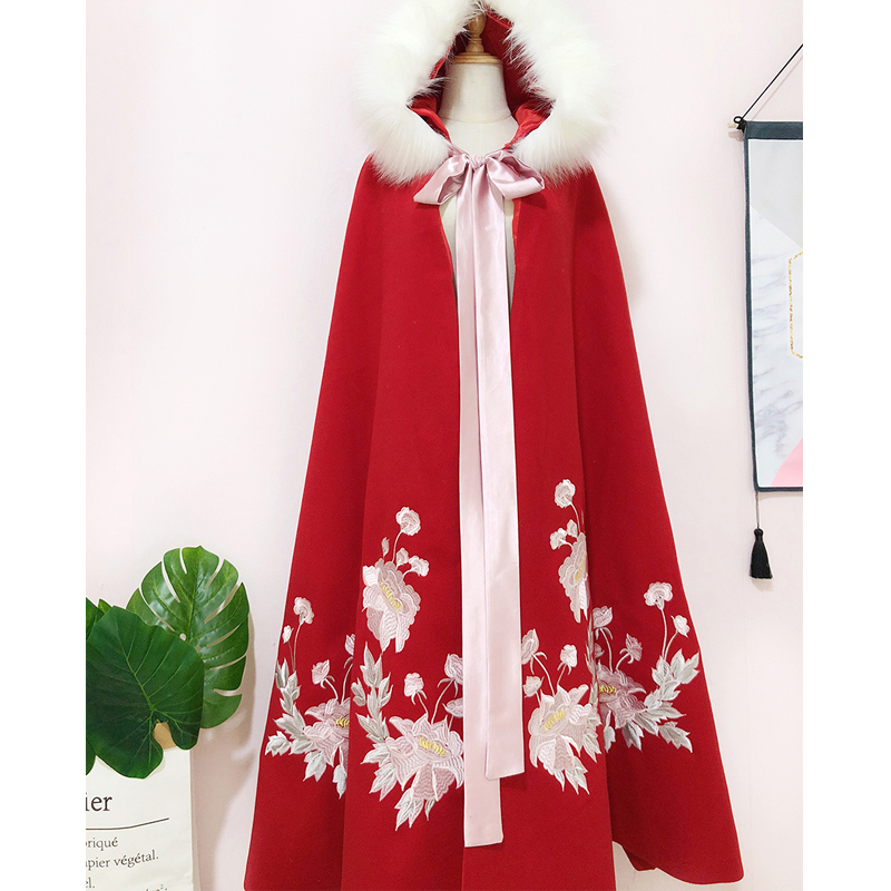 Ancient Chinese Costume Women Hanfu Hooded Fur Collar Long Cloak Red Hanfu Cloak Winter National Hanfu Outfit Stage Dress SL1398
