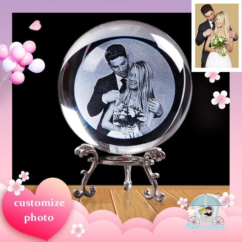 Personalizado Da Foto do Presente de Vidro Bola Esfera de Cristal Personalizado Unicórnio Presente para Namorada Presente Presentes de Casamento de Souvenirs