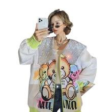 2021 Spring Women Long Sequins Cartoon Print V-Neck Chic Loose Coat