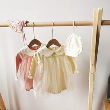 Детское боди, новинка 2020, весенняя одежда для маленьких девочек, детское Сетчатое боди с длинным рукавом и вышивкой на воротнике из чистого хлопка
