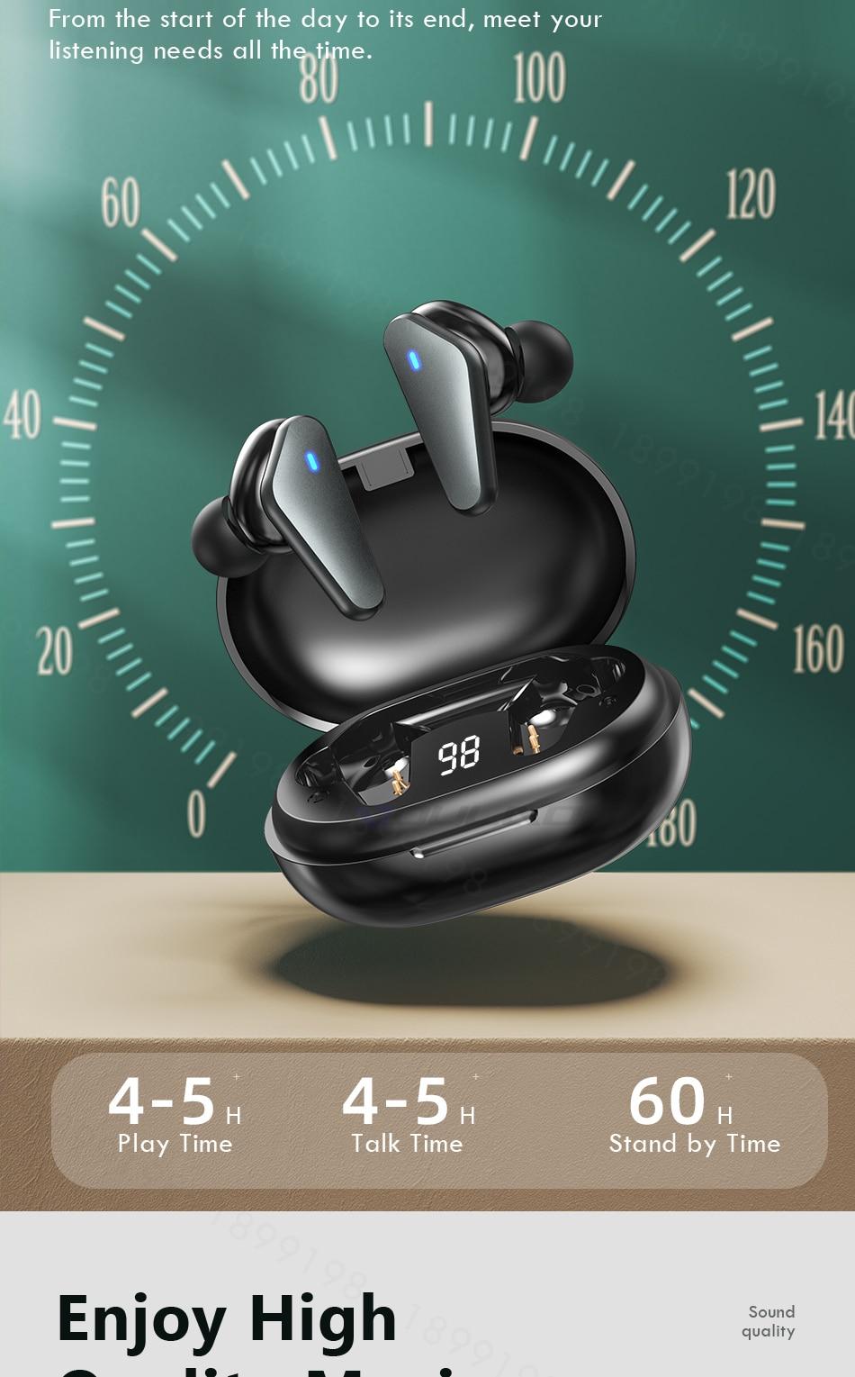 Tws bluetooth 5.0 fones de ouvido display