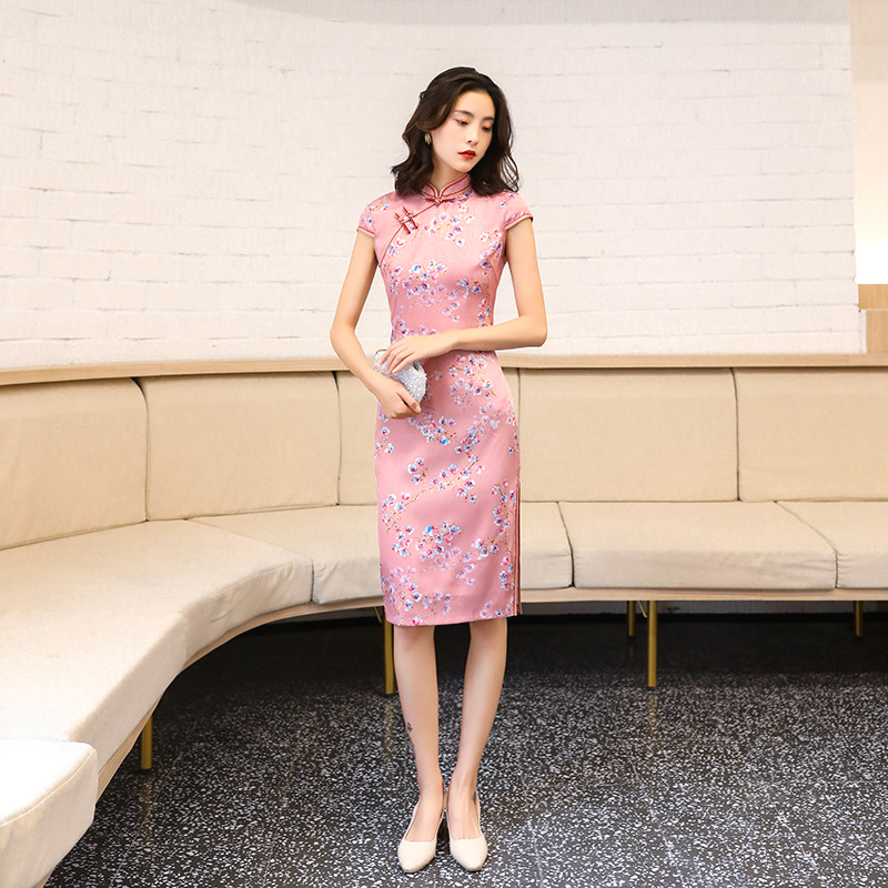 Stand Lead Pink Chinese Cheongsam Dresses Surplice Self-cultivation Cheongsam China Wind 4XL Plus Size Chipao